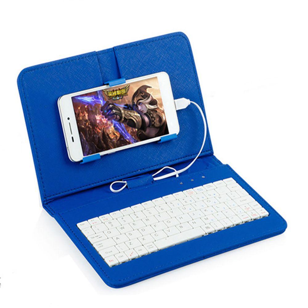 Clavier Portable pour téléphone PU cuir Micro USB filaire étui de protection avec Clip de téléphone étui pour Samsung iphone