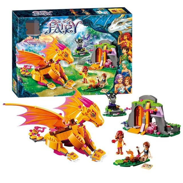 446pcs Elves Fire Dragon's Lava Cave Compatible with Lego Fairy 41175 building blocks educational toys for Children Best Gift