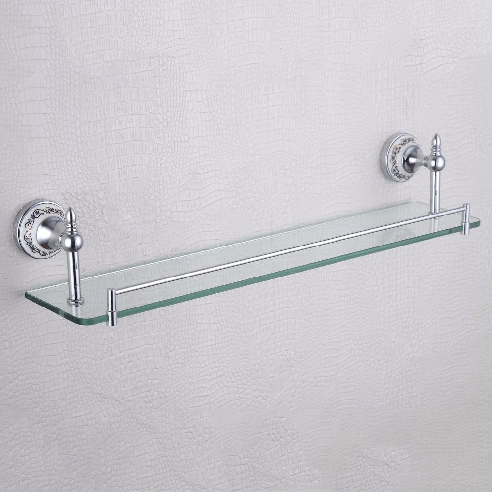 Rechteck schwimm einziges glas regal blau und weiß porzellan basis luxus home decor badezimmer regale für dusche chrom oder gold