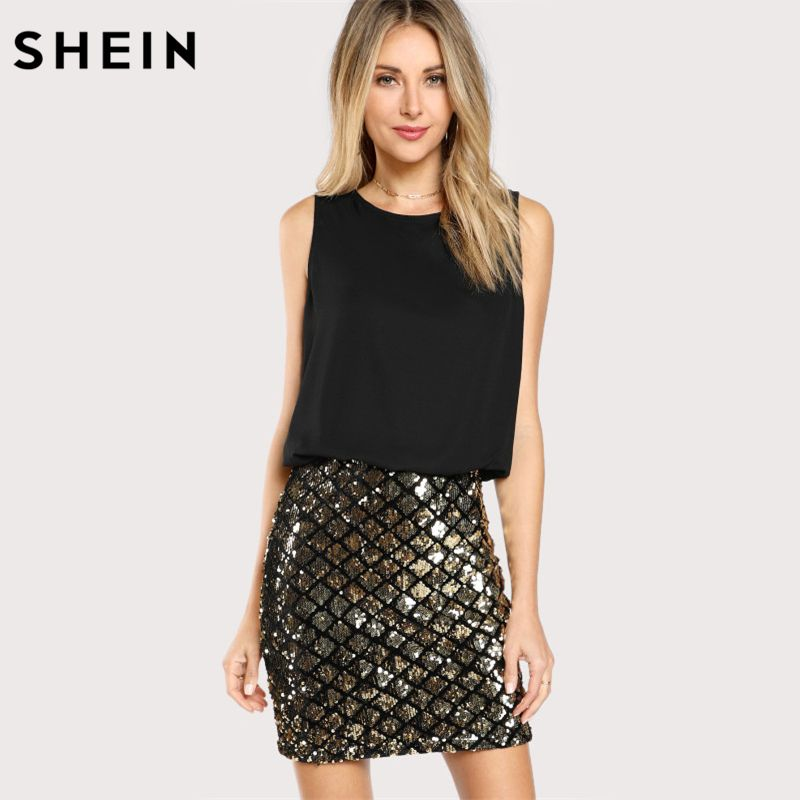 SHEIN Party Frauen Kleider Multicolor Sleeveless Zipper Zurück Kontrast Pailletten Mantel Kleid Zwei Ton Sparkle Combo Kleid