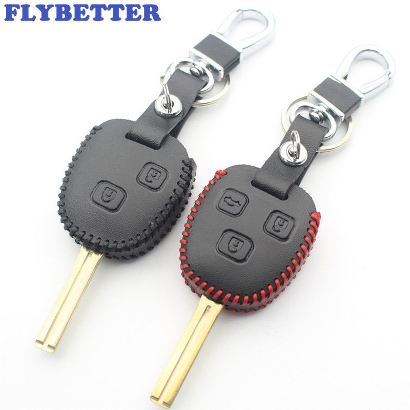 FLYBETTER Genuine Leather Remote Key Case Cover For Lexus IS200/RX330/GX470/ES300 For Toyota Prado/Crown/Previa Car Styling L59