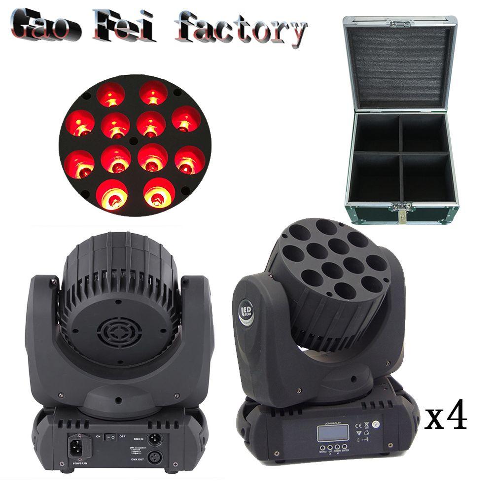 flight case 4pcs/lot LED Beam Moving Head Light 12x12W RGBW Quad LEDs With Excellent Pragrams 16 Channels