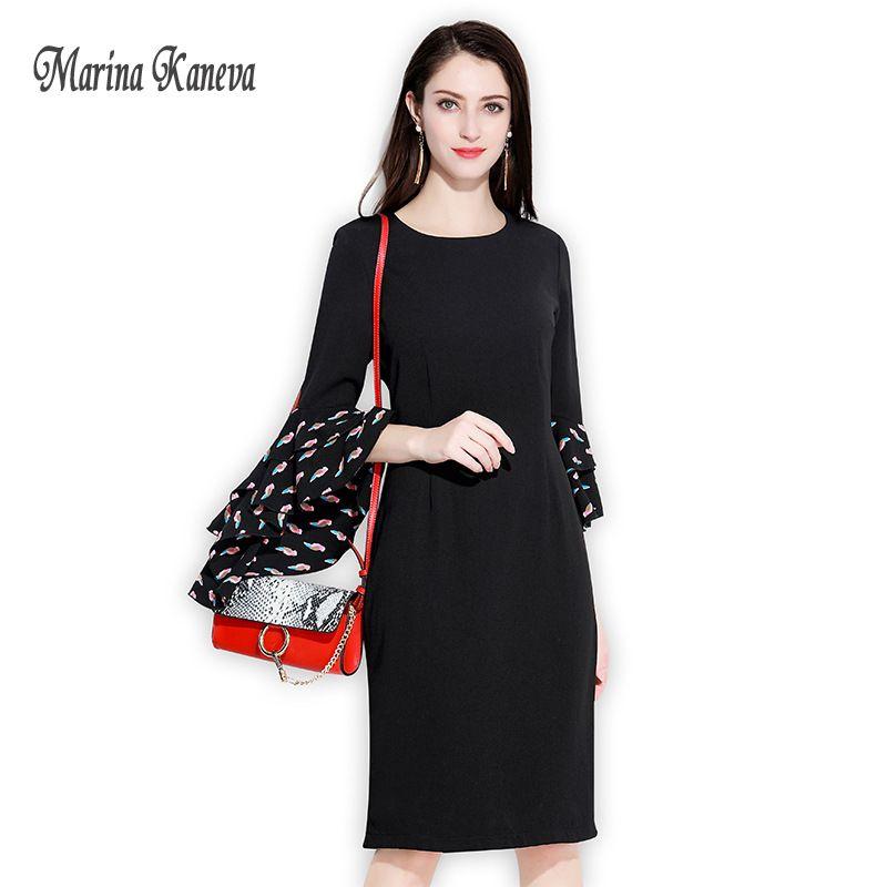 Women Black Dress Vintage Office OL Dress Solid Female Patchwork Chiffon Women Summer O Neck Long Sleeve Midi Dress Ladies 4XL