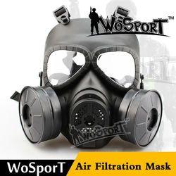 Wosport taktis skull m04 v4 avengers cosplay beracun wajah penuh militer cs wargame airsoft paintball dua keselamatan fan gas masker