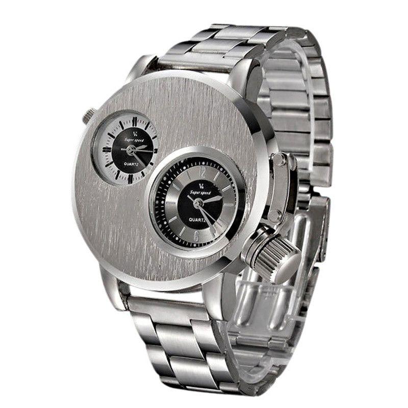 Marca de lujo de Acero Inoxidable Reloj de Los Hombres de Dos Zonas Display Analógico de Cuarzo Fecha Reloj de Pulsera Deporte Militar Relojes Relogio masculino