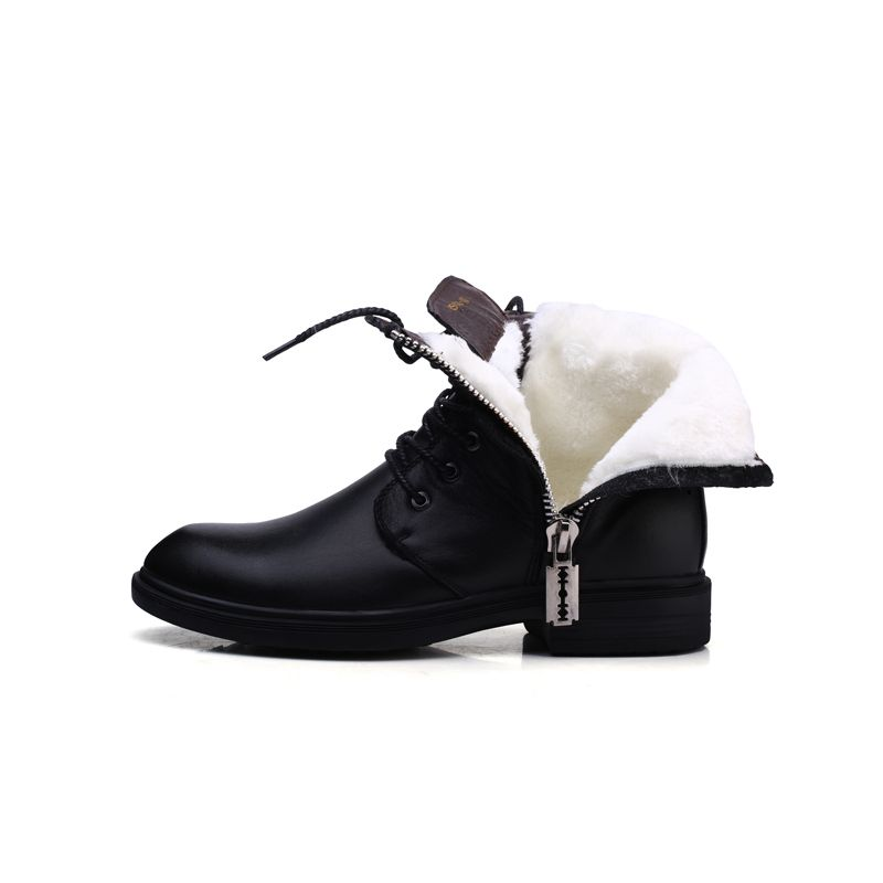 New Winter Motorcycle Snow Boots,Men's Genuine/NAPPA Leather Oxfords Shoes,Motocross men Ankle Fur Boots, Size 6-9,Black Color