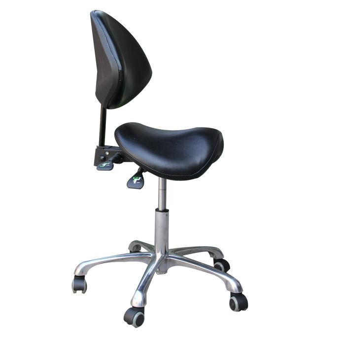Standard Dental Mobile Chair Saddle Doctor's Stool PU Leather Dentist Chair Spa Rolling Stool with Back Support for Beauty