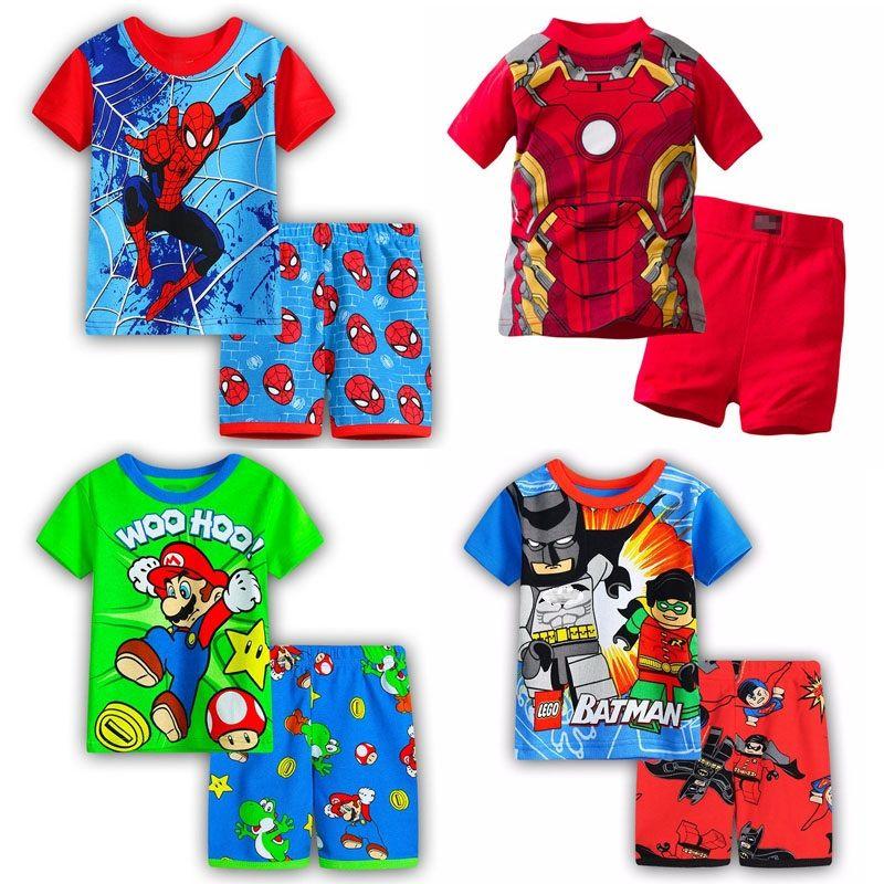 Garçon filles pyjamas nouveau été coton enfants vêtements filles ensemble à manches courtes vêtements ensembles Batman spiderman fer homme à manches courtes