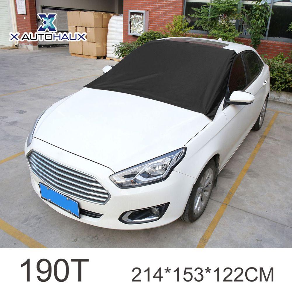 X AUTOHAUX Black 190T Car Wind Shield UV Heat Resistance Front Window Sun Shade with Magnet 214 x 153 x 122CM CAR SUNSHADE VISOR
