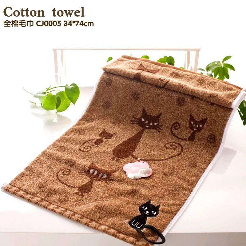Broderie ligne serviette coton doux Table serviettes livraison gratuite pour supporter ou supporter dessin animé nouveauté chat crochet serviettes de cuisine