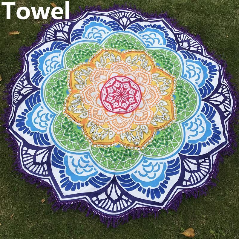 Microfiber Beach Towel Tassel Indian Mandala Tapestry Lotus Printed Bohemian Yoga Mat Bikini Cover-Up Blanket Bath Towel