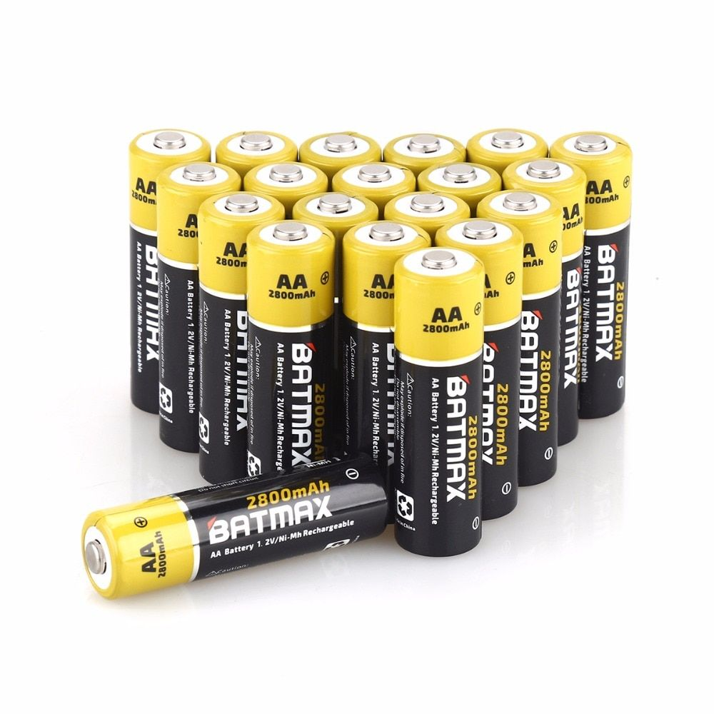20-Pack High-Capacity 2800mAh AA NiMH Rechargeable Batteries
