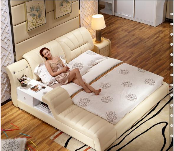 Modern bedroom furniture hammock soft genuine leather for bed  6219