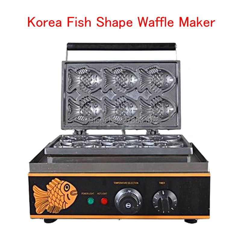 Korea Fish Shape Waffle Maker Machine Non-Stick Waffle Baking Machine 6 Pieces Each time FY-112