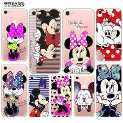 Mignon Minnie Pour Fundas iPhone 7 cas 6 6 S 8 8 Plus X 5 5S SE Mignon Mickey Souple en silicone TPU pour coque iPhone 5S