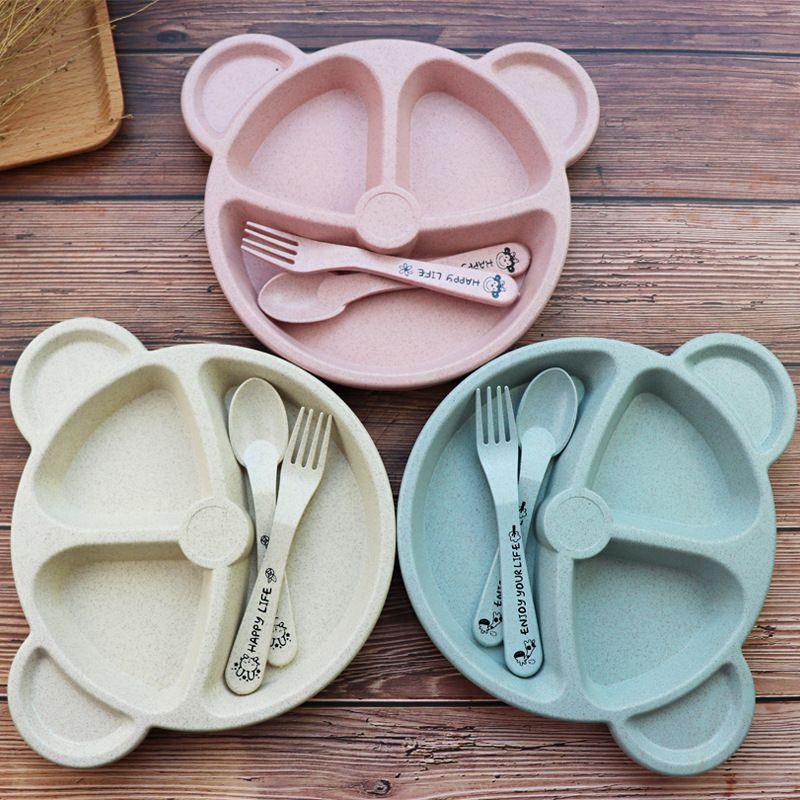 Baby bowl+spoon + fork Feeding Food Tableware Cartoon Panda Kids Dishes Baby Eating Dinnerware Set Anti-hot Training Bowl Spoon
