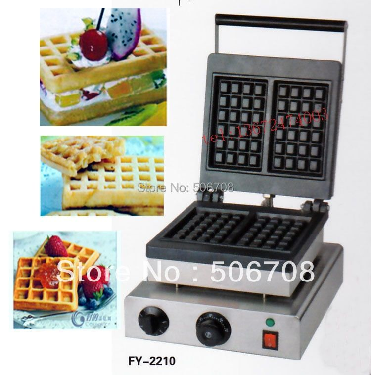 Free shipping 110v 220V 2 pcs/plate Electric Belgium waffe maker machine