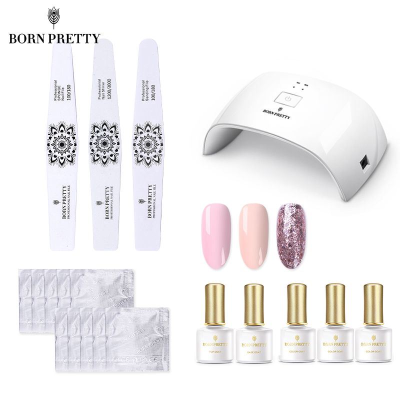 GEBOREN ZIEMLICH 24 watt Nagel Trockner Set UV Gel Curing Lampe Kit Basis Top Nail art Datei Block Puffer maniküre Kit