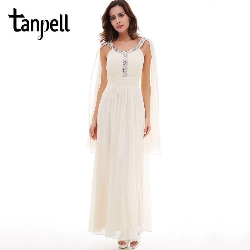 Tanpell new scoop prom dress elegant ivory sleeveless floor length a line dresses women graduation evening beaded long prom gown