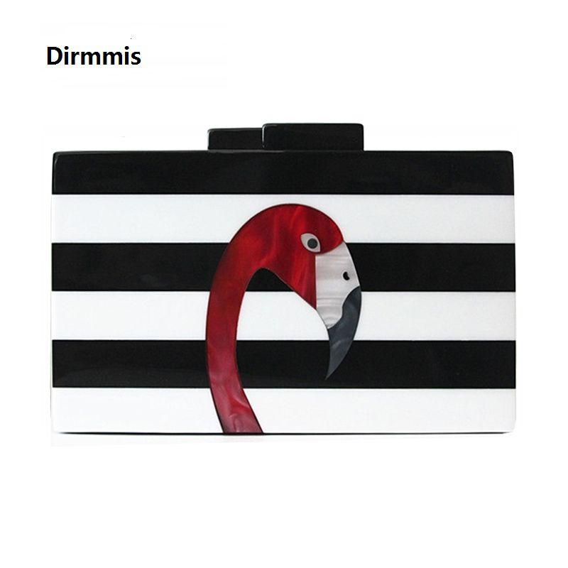 Femmes Messenger sac marque mode portefeuille européen luxe sac à main élégant noir blanc femme rayure acrylique Flamingo décontracté embrayage