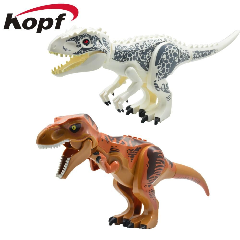 Super Heroes Star Wars Dinosaur Jurassic World Park Tyrannosaurus Bricks Model Building Blocks Toys For Children KF911 KF912