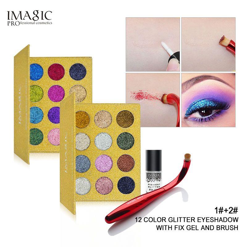 Injection de paillettes IMAGIC paillettes pressées unique fard à paupières diamant arc-en-ciel maquillage cosmétique Palette d'aimant ombre à paupières