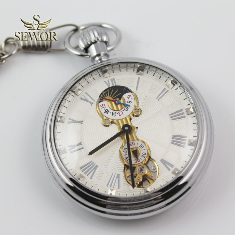 SEWOR 2018 Top Brand Simple fashion moon phase small second hand display mechanical pocket watch C228