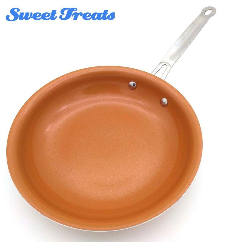 Sweettreats Rond Non-bâton De Cuivre Poêle avec Revêtement Céramique et Cuisson À Induction, Four et Lave-Vaisselle