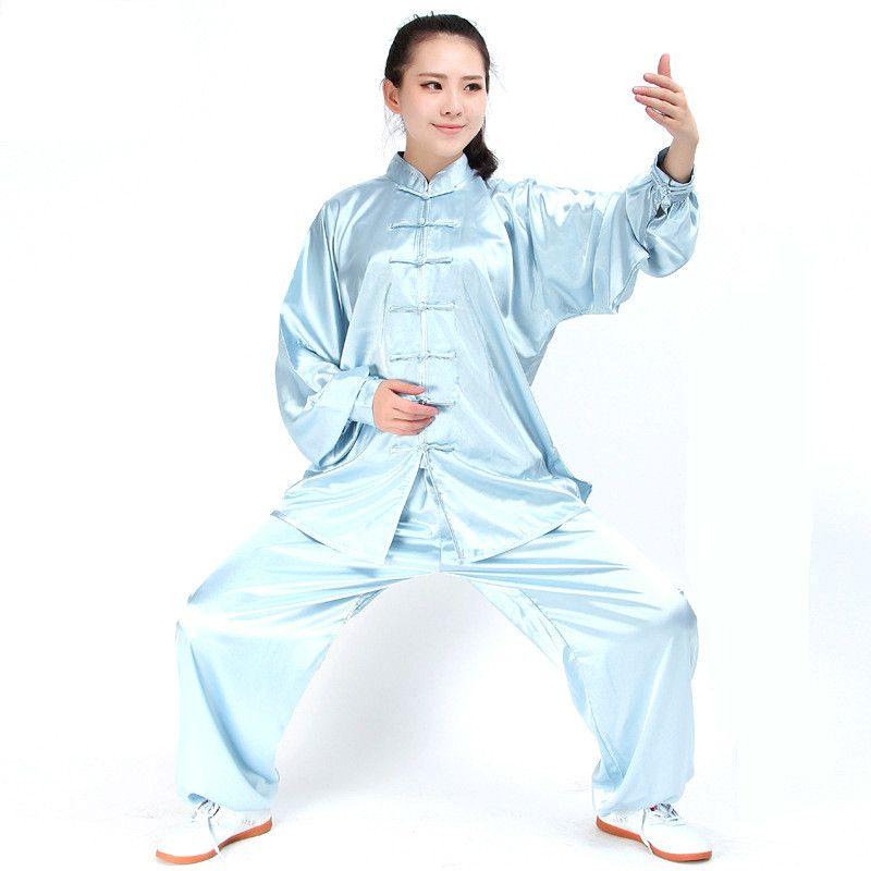 Long Sleeve Traditional South-Korea Rayon Material Suit Chinese Kung Fu Tai Chi Uniform Spring Autumn Shirt Pants for Men Women