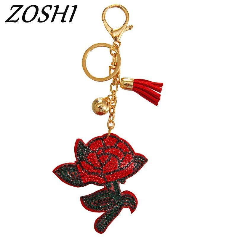 Glück Rose Blume Schlüssel Ring Ketten Halter Quaste Tasche Schnalle Anhänger Für Auto Schlüsselanhänger Schlüsselanhänger für frauen großhandel schmuck