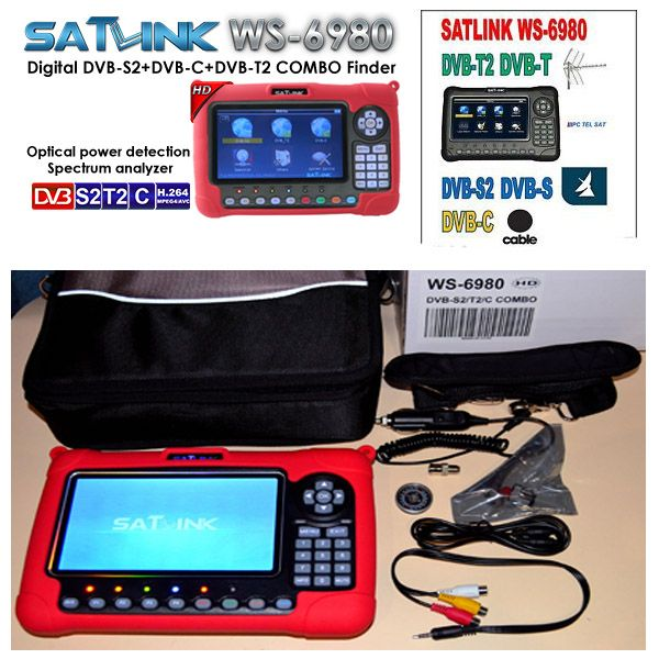 satlink 6980 DVB-S2/C+DVB-T2 COMBO detection Spectrum satellite finder meter vs satlink ws-6980 combo finder