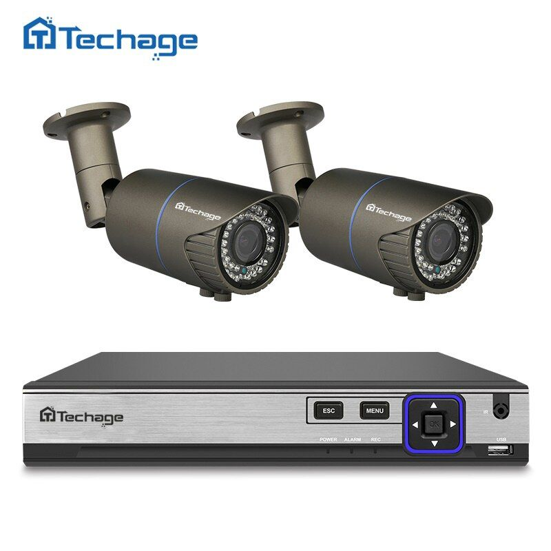 Techage H.265 4CH POE NVR Kit 4MP CCTV System 2PCS 2.8mm-12mm Varifocal Zoom Lens POE IP Camera Outdoor Waterproof Security Kit