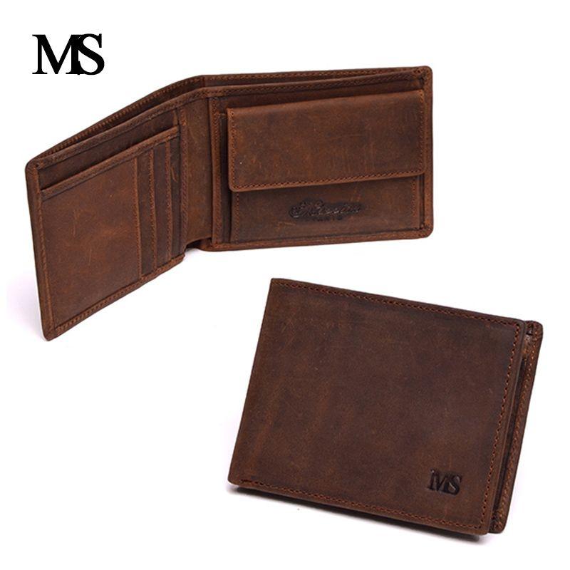 Véritable Crazy Horse cuir de vachette hommes portefeuille court porte-monnaie petit Vintage portefeuille marque de haute qualité Vintage Designer 1653-1
