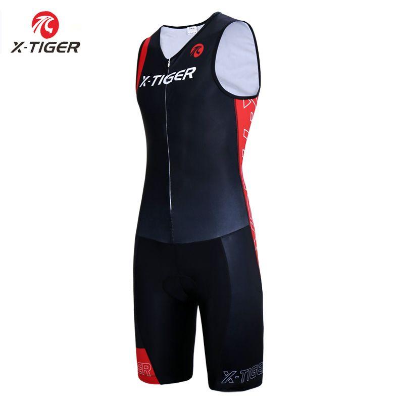 X-Tiger Men Triathlon Cycling Jersey Sponge Pad Cycling Skinsuit Summer Quick-dry Sleeveless Running Swimming Cycling Clothing
