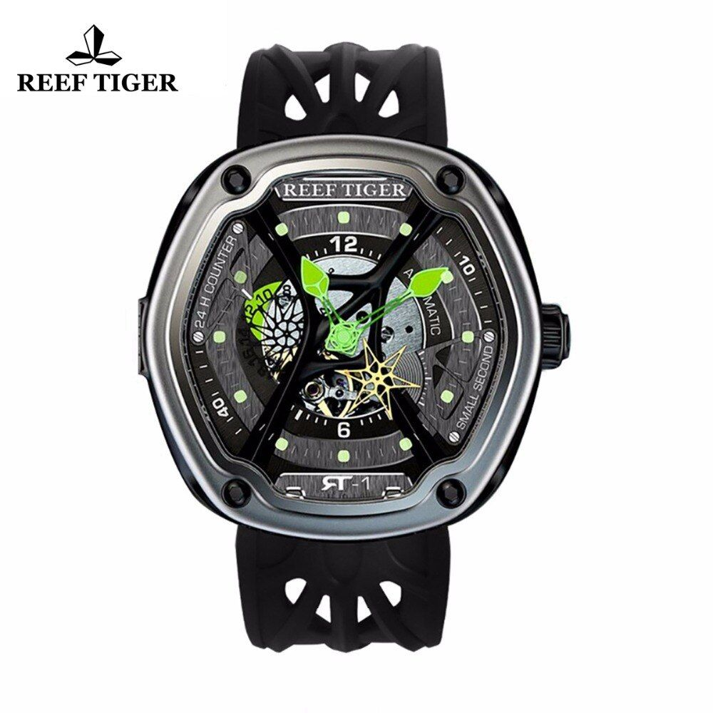 Riff Tiger/RT Luxus Dive Sport Uhr Leucht Zifferblatt Nylon/Leder/Gummi Strap Automatische Kreative Design Uhr RGA90S7
