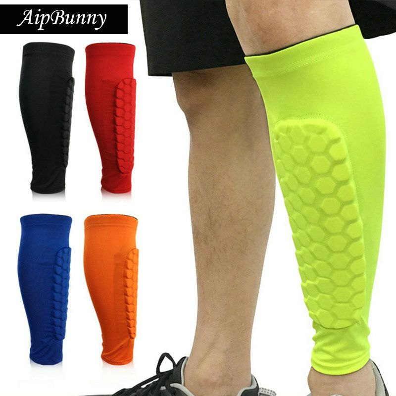2 pièces Sport professionnel Football Football protecteur respirant mollet Compression protège-tibia soutien coussinets jambe manches chaussette orthèse