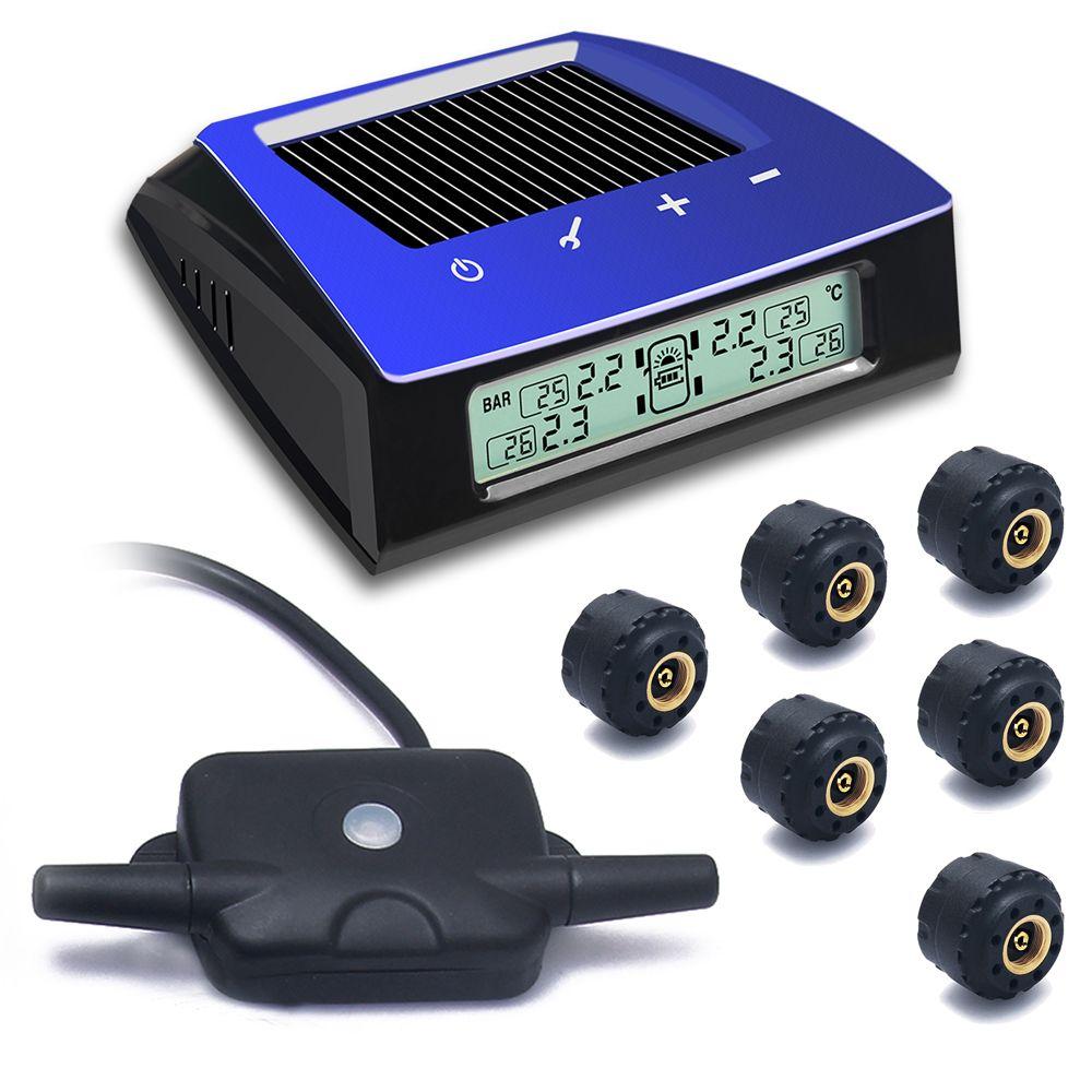 CARCHET Wireless RV Solar Tire Pressure Monitor System TPMS + 6 External Sensors Car Truck RV Trailar TPMS 6 sensors LCD Display
