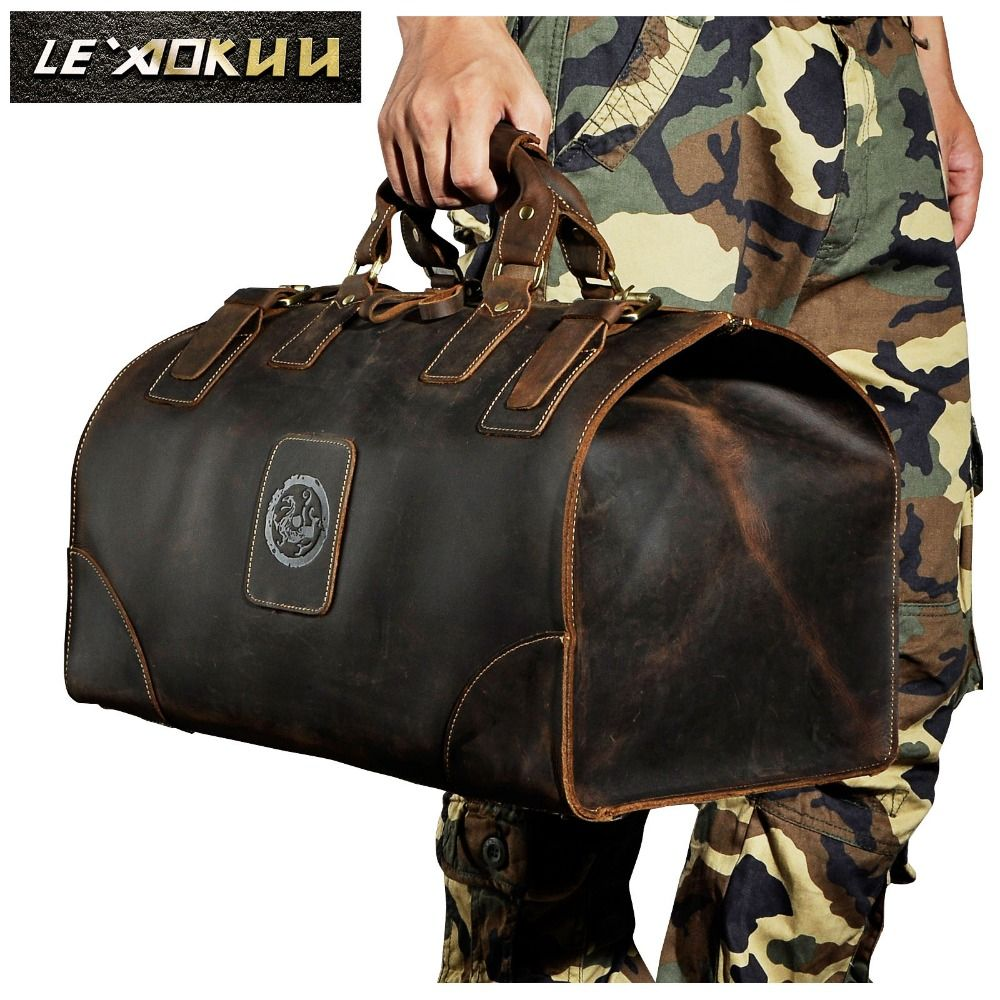 Men Genuine Leather Large Capacity Vintage Design Duffle Bag Male Fashion Travel Handbag Luggage Bag Suitcase Tote Bag 8151b