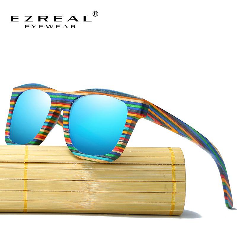 EZREAL Polarisées lunettes de Soleil En Bois Hommes Bambou Lunettes de Soleil Femmes Marque Designer D'origine Bois Lunettes Oculos de sol masculino