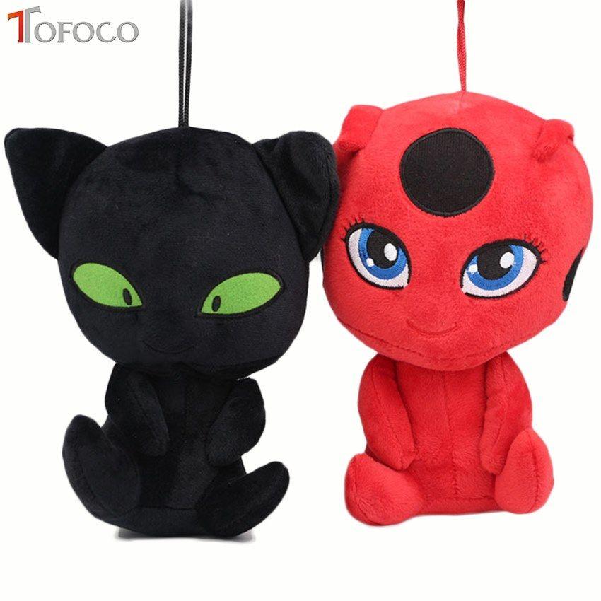 TOFOCO 20CM Miraculous Ladybug and Cat Noir Peluche Toys Lady Bug Plagg Tikki Soft Stuffed Dolls toy for kids Children