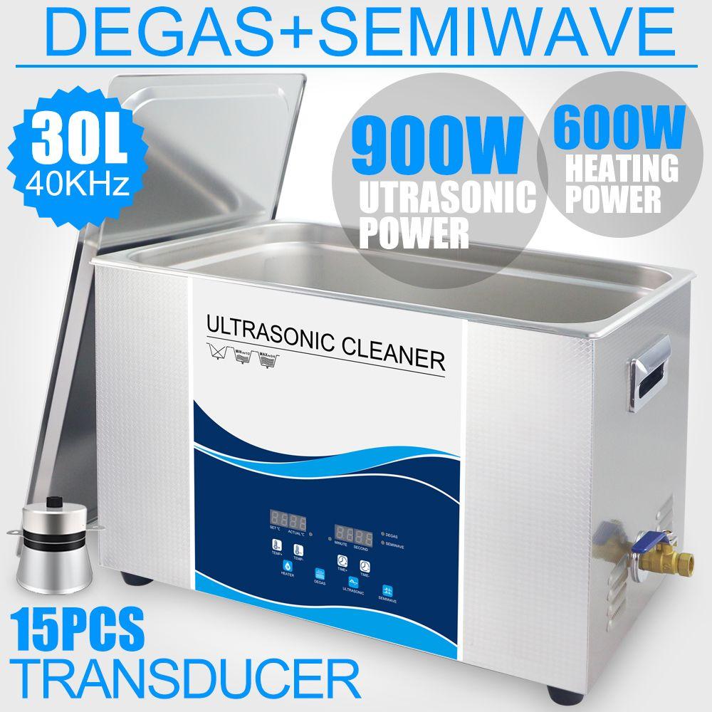 30L Ultrasonic Cleaner Machine 900W Stainless Steel Bath Heated Power Degas 40KHZ Industrial Hardware Engine Gear Board Lab