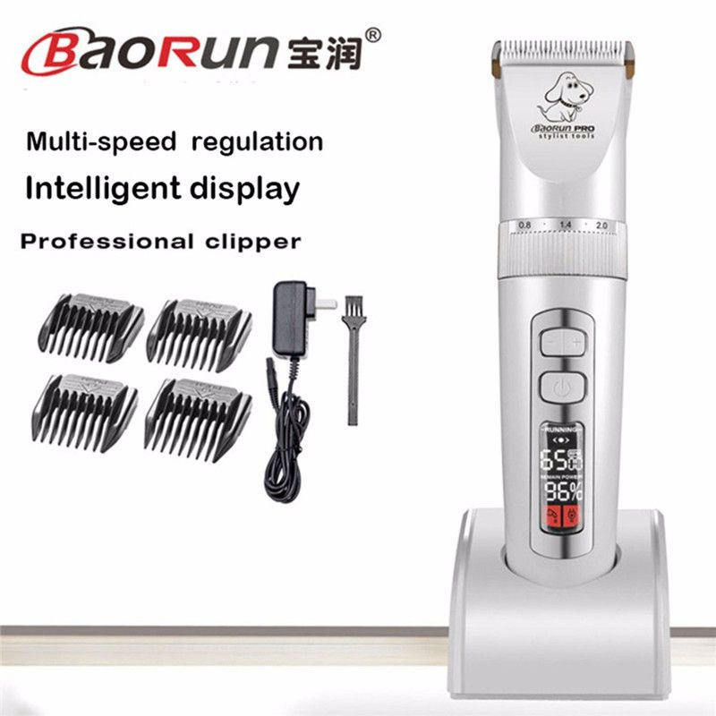 Baorun P9 New Professional LCD Screen Pet Cat Dog Trimmer Electric Rechargeable Grooming Clipper Remover Shaver Rabbit Haircut