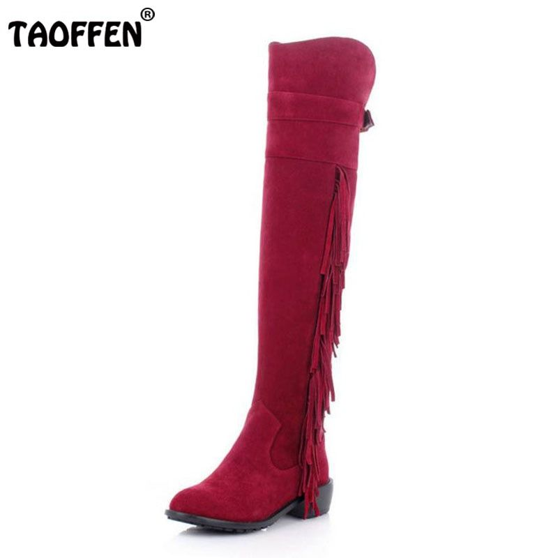 TAOFFEN Femmes D'hiver de Neige Chaussures Femmes En Cuir Véritable Med Talon genou Haute Hiver Bottes Femmes Glands Chaud Fourrure Botas Taille 34-39