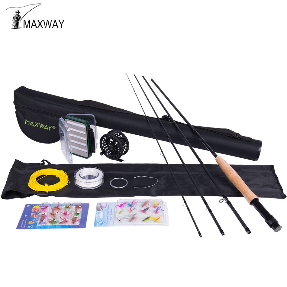 Maxway 3/4 5/6 7/8 Fly Fishing Set Carbon Fly Fishing Rod Metal Reel with Line Files Line Connector Fly Fishing Rod Combo