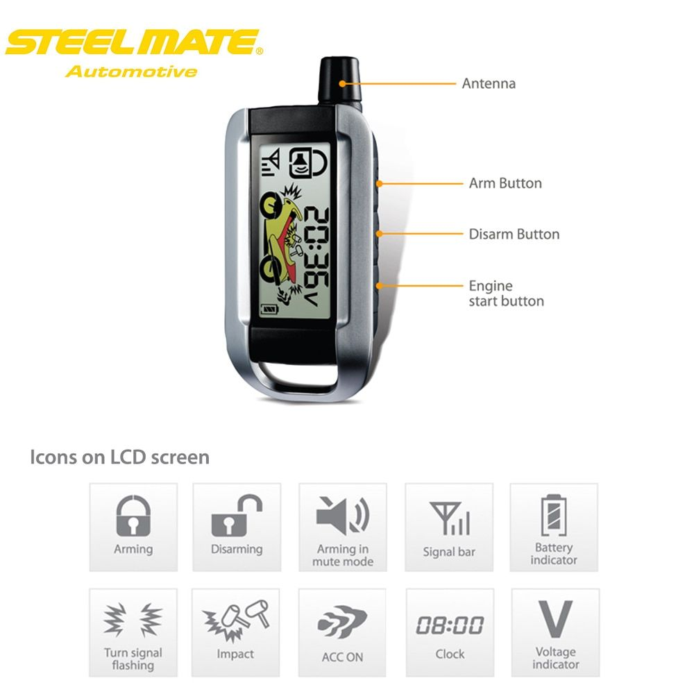 Steelmate 986XO 2 Way Motorcycle Alarm System Remote Engine Start Water Resistant ECU LCD Transmitter Motorcycle Security System
