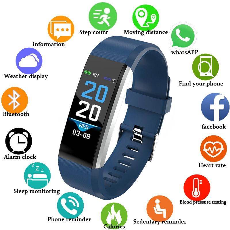BANGWEI Smart Bracelet Fitness Tracker Step Counter Activity Monitor Band Alarm Clock Vibration for IOS Android Men Women Watch