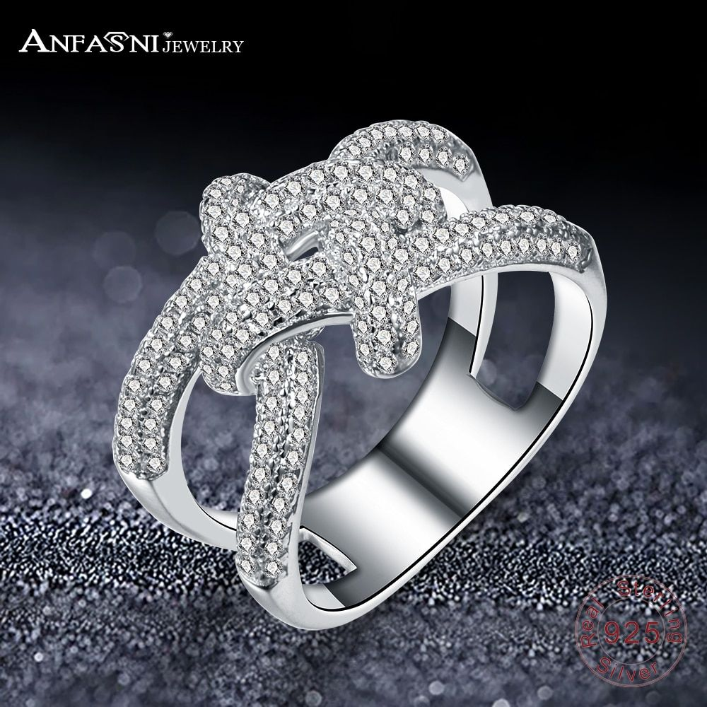 ANFASNI Top Quality Fashion Brand Real Solid 925 Sterling Silver Ring Wedding Rimantic Knot Rings Engagement Jewelry For Women