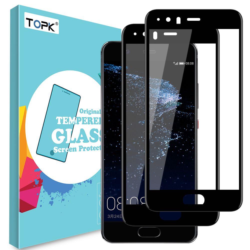 Für Huawei P10 Displayschutzfolie, TOPK Nahtlose Full Coverage HD Clear Anti-Scratch Gehärtetem Glas für iHuawei P10 Plus