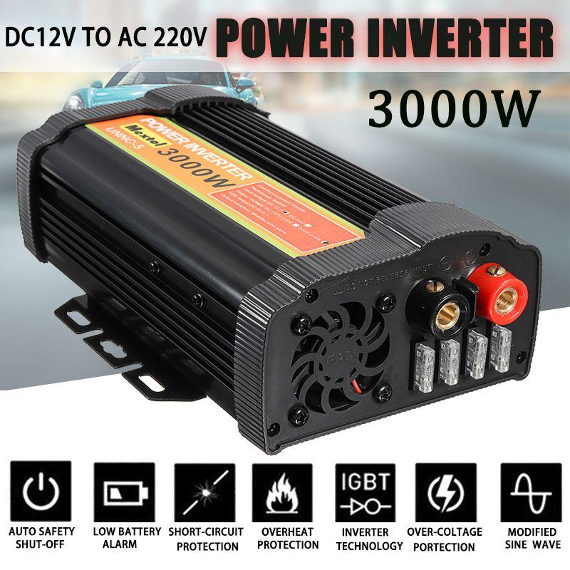 3000W Power Inverter 12 V to AC 220 Volt LCD Digital Max 6000 Watt Modified Sine Wave Car Charge Converter Transformer 2 USB