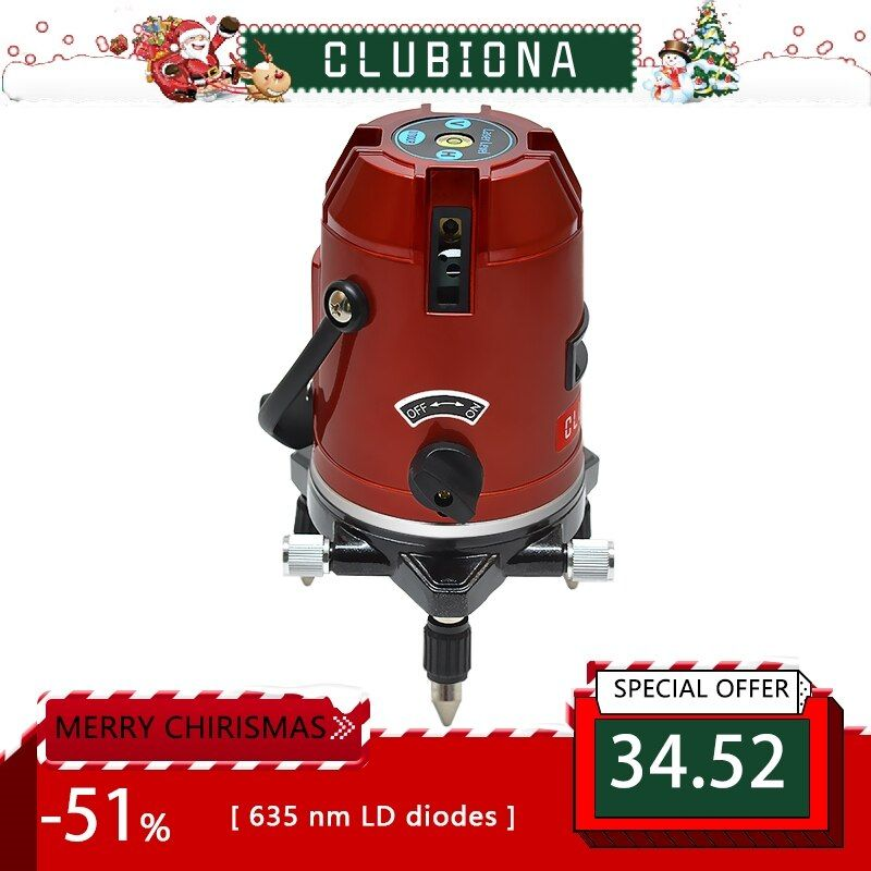 CLUBIONA 5 lines 6 points 360 degrees rotary LD 635nm outdoor mode - <font><b>receiver</b></font> and tilt slash available auto line laser level